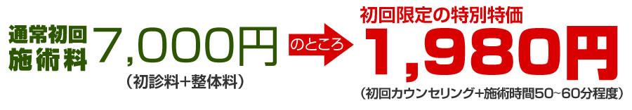 通常初回施術料7,000円⇒期間限定初回特別価格1,980円で行います。詳しくは以下をご覧ください!
